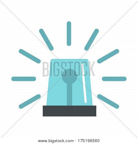 Blue flashing emergency light icon in flat style isolated on white background vector illustration