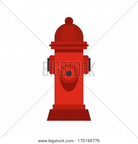 Red fire hydrant icon in flat style isolated on white background vector illustration