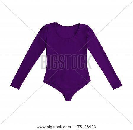 purple gymnastics bodysuit isolated on white background