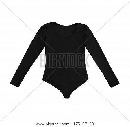 black gymnastics bodysuit, isolated on white background