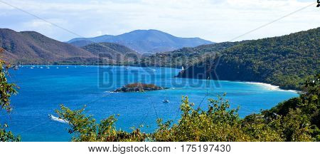 panorama of trunk bay, us virgin islands.