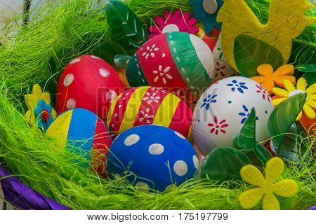 Basket with Easter eggs. Orthodox Easter holiday.