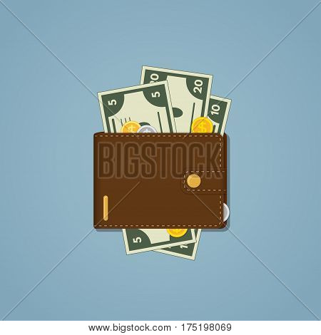 Isolated leather brown wallet for your money coins and cards. It consist of material with gold clasp stroke and emblem and located on a blue background. It contains cash of different denomination.