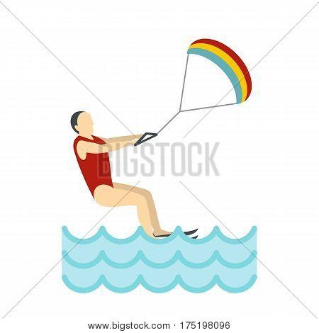 Kitesurfing icon in flat style isolated on white background vector illustration