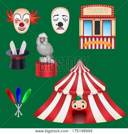 Circus Set: Clown, Box Office, Hat With A Rabbit, A Trained Poodle, A Circus Tent, A Mace