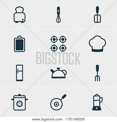 Vector Illustration Of 12 Cooking Icons. Editable Pack Of Bread, Skillet, Fruit Squeezer And Other Elements.