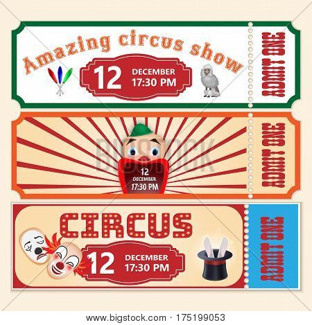 Circus Show Tickets Vector Templates With Sample Text On White Background