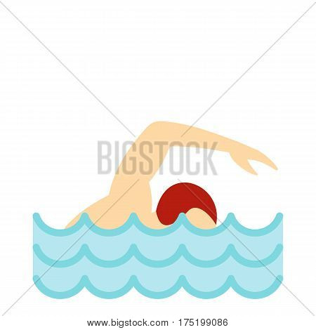 Swimmer crawling in pool icon in flat style isolated on white background vector illustration
