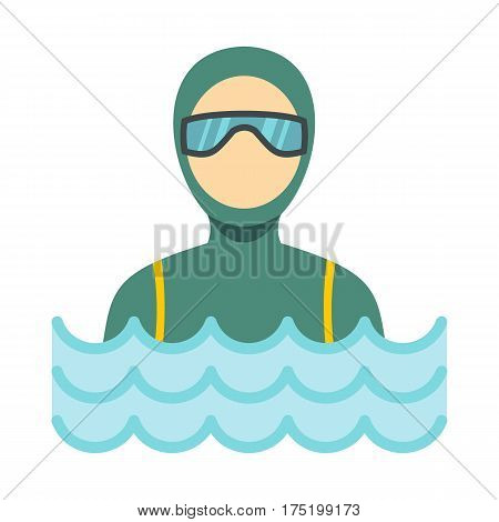 Scuba diver man in diving suit icon in flat style isolated on white background vector illustration