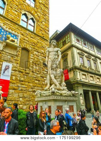 Florence, Italy - May 01, 2014: Hercules and Cacus statue at Piazza della Signoria i Florence, Italy.