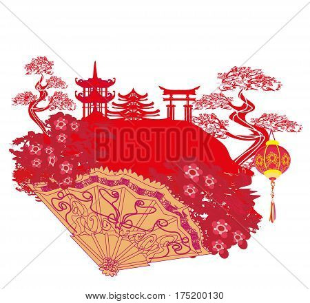 Chinese landscape and beautiful fan , vector illustration