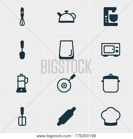 Vector Illustration Of 12 Kitchenware Icons. Editable Pack Of Cooking Spade, Tablespoon, Chef Hat And Other Elements.