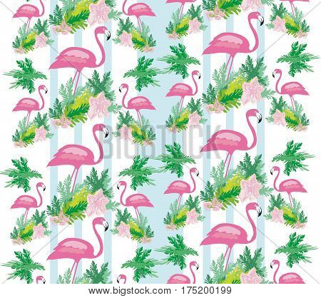 Seamless flamingo bird pattern , vector illustration