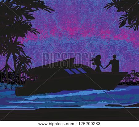 Tropical vacation on sea landscape , vector illustration