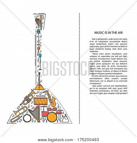Music instrument line icons in balalaika shape. Art musical brochure element. Vector decorative greeting card or invitation design background. Creative booklet concept. Magazine cover.