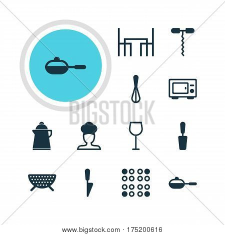 Vector Illustration Of 12 Kitchenware Icons. Editable Pack Of Kitchen Dagger, Cook, Wine Opener And Other Elements.
