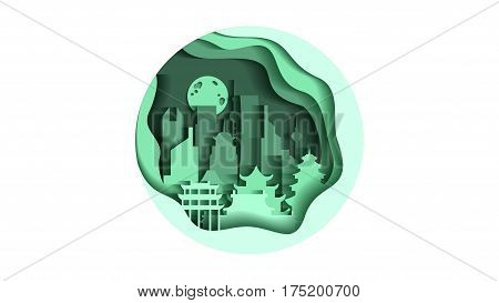 Stock vector illustration background circle icon in flat style architecture buildings and monuments town city country travel flyer, printed Chinese Bungalows, China, Beijing, Shanghai, Chinese culture