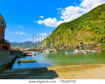 Vernazza, Italy - September 09, 2015: The beach of Vernazza. Vernazza is a town and comune located in the province of La Spezia, Liguria, northwestern Italy.