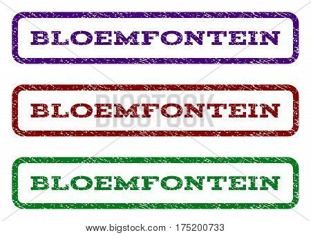 Bloemfontein watermark stamp. Text caption inside rounded rectangle frame with grunge design style. Vector variants are indigo blue, red, green ink colors. Rubber seal stamp with scratched texture.