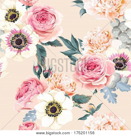 Roses, peonies and anemones vector seamless background