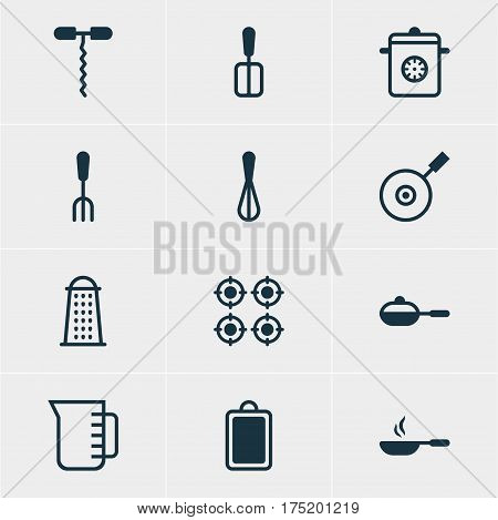 Vector Illustration Of 12 Cooking Icons. Editable Pack Of Pan, Furnace, Fork And Other Elements.