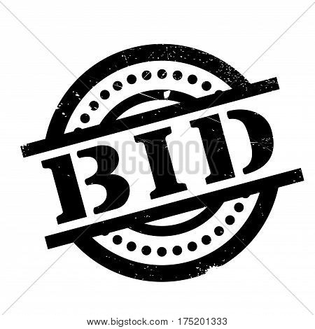 Bid rubber stamp. Grunge design with dust scratches. Effects can be easily removed for a clean, crisp look. Color is easily changed.