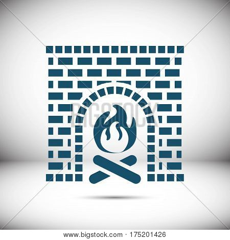 fireplace icon stock vector illustration flat design