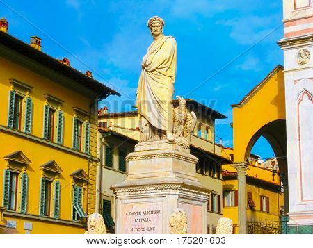 Florence, Italy - May 01, 2014: The statue of Dante Alighieri in Piazza S. Croce in Florence, sculpted in 1865 by Enrico Pazzi