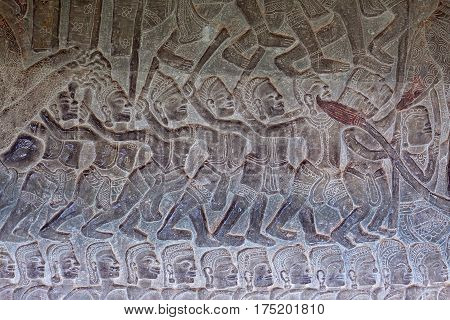Ancient Reliefs At Angkor Wat, Cambodia