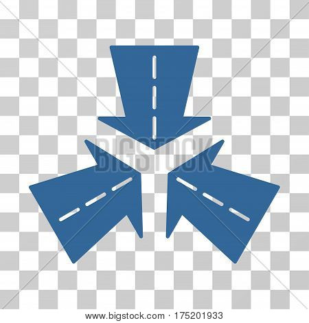 Merge Directions icon. Vector illustration style is flat iconic symbol cobalt color transparent background. Designed for web and software interfaces.