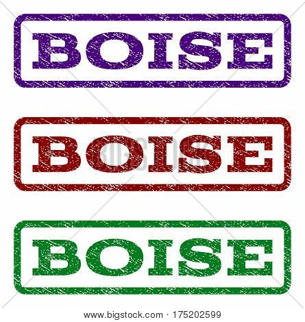 Boise watermark stamp. Text caption inside rounded rectangle with grunge design style. Vector variants are indigo blue, red, green ink colors. Rubber seal stamp with unclean texture.