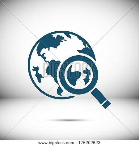 globe search  icon stock vector illustration flat design