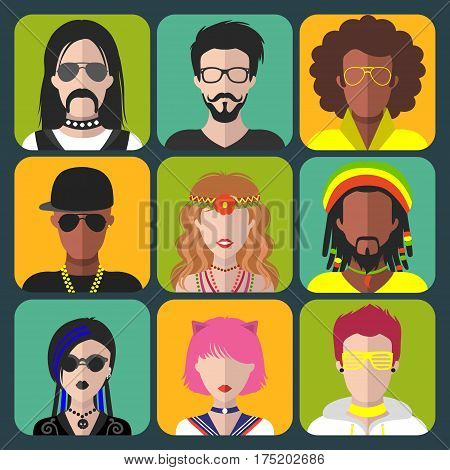 Vector set of different subcultures man and woman app icons in trendy flat style. Goth, raper, hippy, hipster, raver, rocker, rastafarian, anime and disco fan web images.