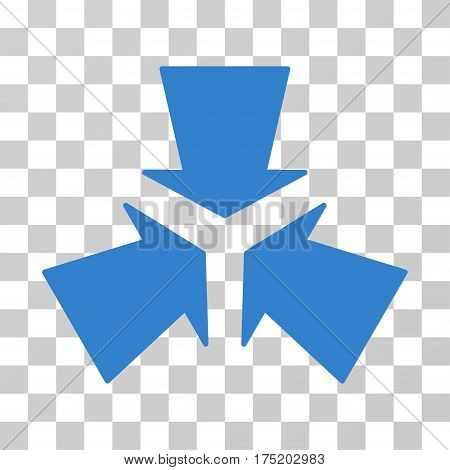 Shrink Arrows icon. Vector illustration style is flat iconic symbol cobalt color transparent background. Designed for web and software interfaces.