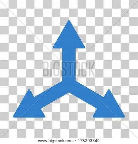 Triple Arrows icon. Vector illustration style is flat iconic symbol cobalt color transparent background. Designed for web and software interfaces.