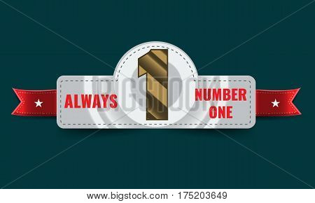 Number one background with ribbon. Banner for Poster or brochure template. Vector illustration