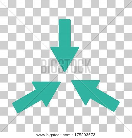 Collide 3 Arrows icon. Vector illustration style is flat iconic symbol cyan color transparent background. Designed for web and software interfaces.