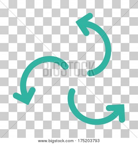 Cyclone Arrows icon. Vector illustration style is flat iconic symbol cyan color transparent background. Designed for web and software interfaces.