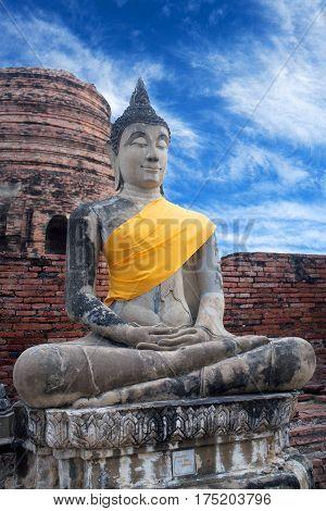 Ancient Buddha statues in Wat Yai Chaimongkol in Ayutthaya, Thailand