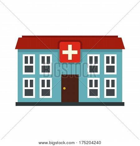 Hospital icon in flat style isolated on white background vector illustration