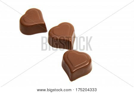 chocolate candy hearts isolated on white background