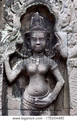 Ancient Bas-relief In Angkor Wat Temple, Cambodia