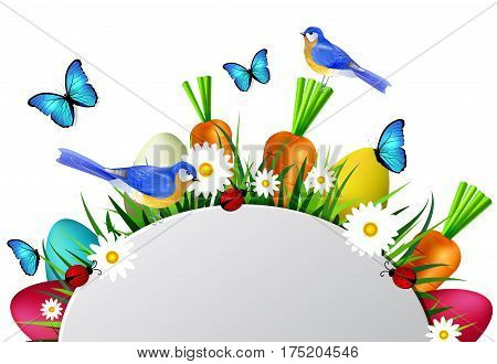 Happy Easter card with eggs camomiles butterflyes ladybugs carrots and grass bluebirds with empty spase for your greetings