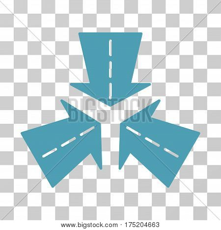 Merge Directions icon. Vector illustration style is flat iconic symbol cyan color transparent background. Designed for web and software interfaces.