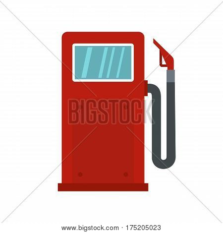 Red gasoline pump icon in flat style isolated on white background vector illustration