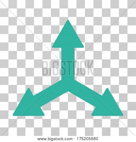 Triple Arrows icon. Vector illustration style is flat iconic symbol cyan color transparent background. Designed for web and software interfaces.