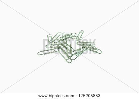 paperclips on the white backgroundclose up isolated