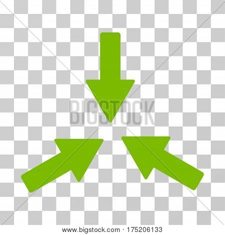 Collide 3 Arrows icon. Vector illustration style is flat iconic symbol eco green color transparent background. Designed for web and software interfaces.