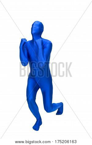 Mysterious blue man in costume rejoice, isolated on white