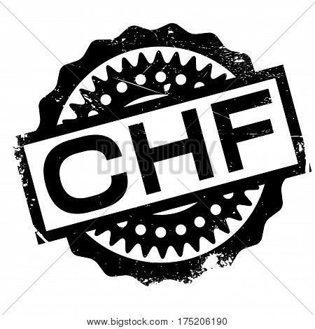 CHF rubber stamp. Grunge design with dust scratches. Effects can be easily removed for a clean, crisp look. Color is easily changed.